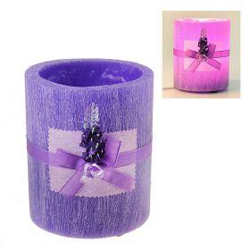 Лампа круглая из воска цвета и аромата лаванды, декорированная лавандой с кристалами d-15 h-18 19L