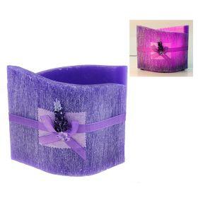 Лампа из воска цвета и аромата лаванды, декор. лавандой d-24*16 h-20 19LA5