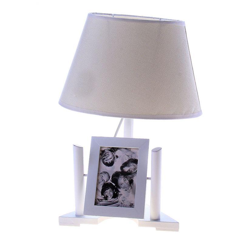 """Настольная лампа с фоторамкой """"Умиротворение"""" белая (на 2 фото)"""