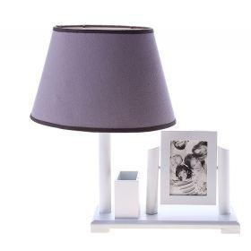 """Настольная лампа с фоторамкой """"Сдержанность"""" белая (на 2 фото, с подставкой для ручек)"""