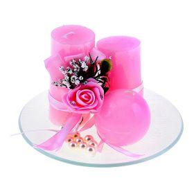 Свеча воск (набор 3 шт столбик +декор) очарование розовая