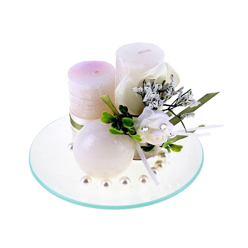 Свеча воск (набор 3 шт столбик +декор) очарование белая