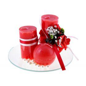 Свеча воск (набор 3 шт столбик +декор) очарование красная