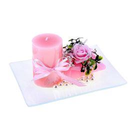 Свеча воск (набор 2 шт+декор) очарование розовая