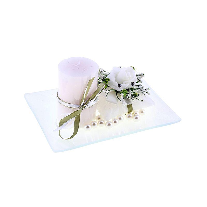 Свеча воск (набор 2 шт+декор) очарование белая