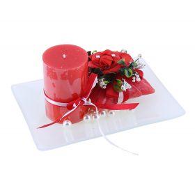 Свеча воск (набор 2 шт+декор) очарование красная