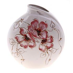 Ваза форма Инфинити 2 белая роспись цветы