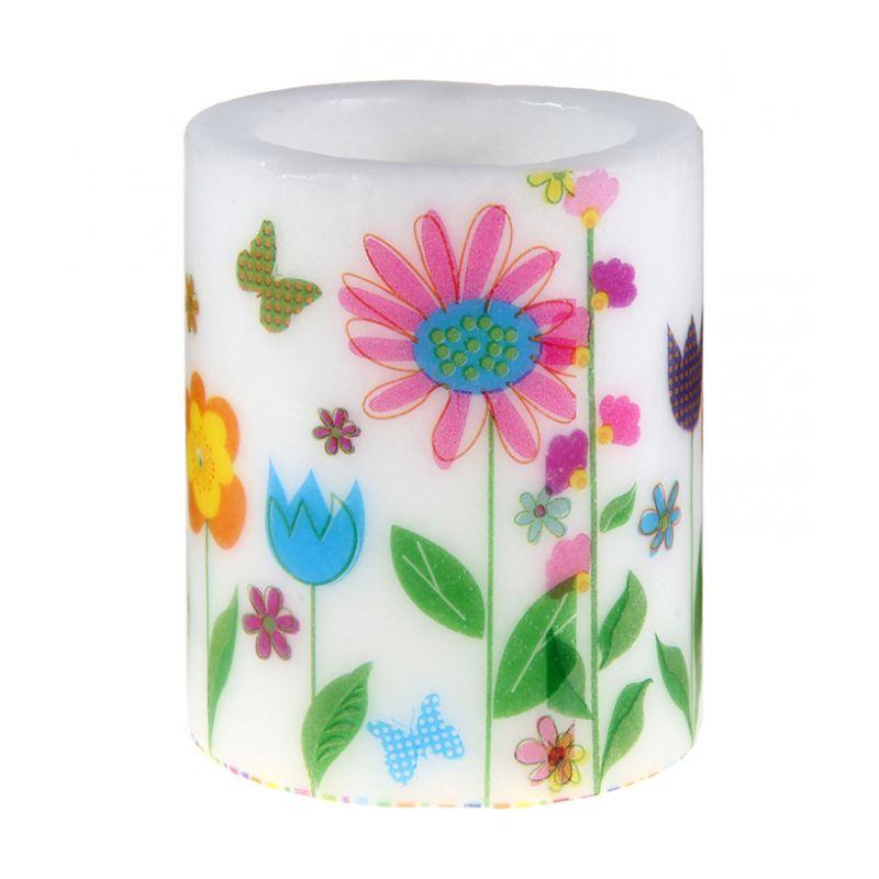 Свеча с цветочным рисунком