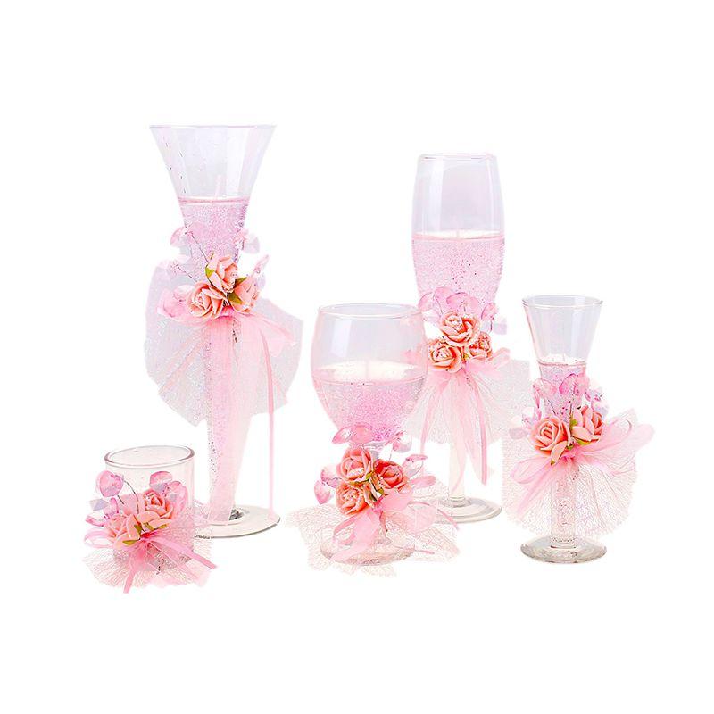 Набор свечей гелевых, розовых, в пластиковой коробке