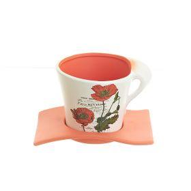 """Горшок для цветов с поддоном """"Полевые маки"""" d13см. h11см. v750мл. (без подарочной упаковки)"""