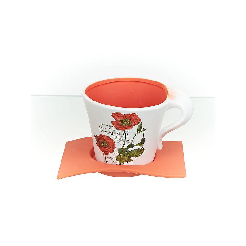 """Горшок для цветов с поддоном """"Полевые маки"""" d15см. h14см. v1250мл. (без подарочной упаковки)"""