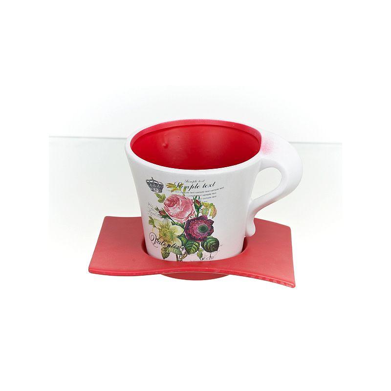 """Горшок для цветов с поддоном """"Садовый букет"""" d15см. h14см. v1250мл. (без подарочной упаковки)"""