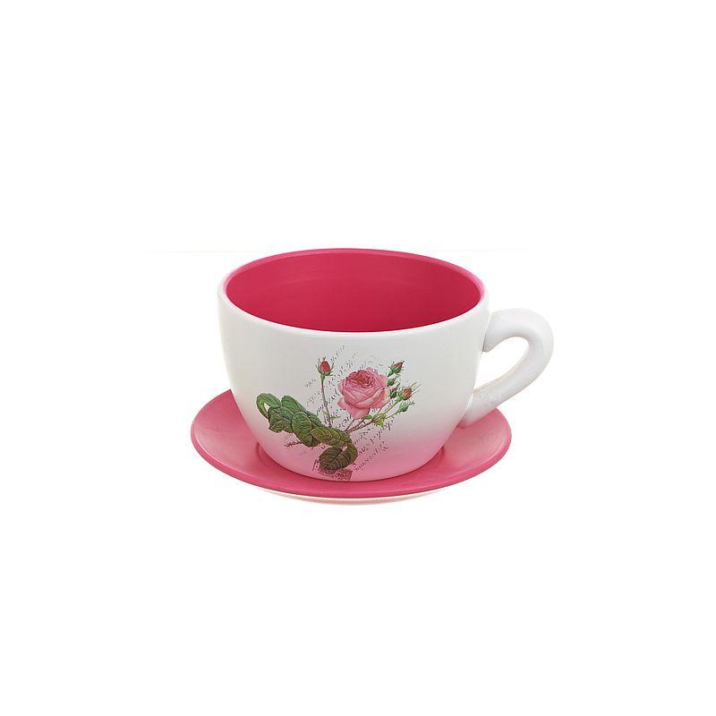 """Горшок для цветов с поддоном """"Розовый сад"""" d19см. h13см. v2000мл. (без подарочной упаковки)"""
