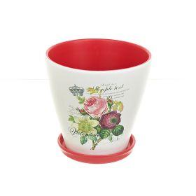 """Горшки для цветов с поддонами, набор 3шт. """"Садовый букет"""" d18/16/14см. h17/14/12см. v2300/1600/1000мл. (конус) (без подарочной у"""