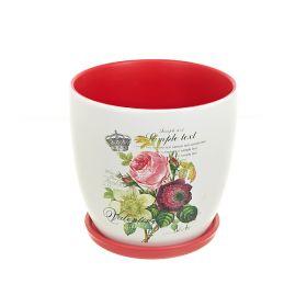 """Горшки для цветов с поддонами, набор 3шт. """"Садовый букет"""" d19,5/15/12см. h19/14,5/12см. v3800/1750/1000мл. (без подарочной упако"""