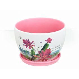 """Горшки для цветов с поддонами, набор 3шт. """"Зимний цветок"""" d22/19/14,5см. h15/12,5/11см. v3400/2000/1000мл. (без подарочной упако"""