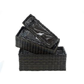 Кашпо декоративное, набор 3шт. 30*10*10,5/33*13,5*13/37*18*14,5см. (полимерные материалы) (упаковочный пакет opp)