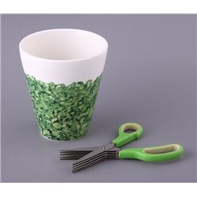 Кашпо для зелени + ножницы высота15 см.диаметр13 см.