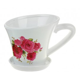 Кашпо керамика кружка на блюдце 13*7 см розы