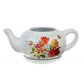 Кашпо керамика чайник 17*40 см букет