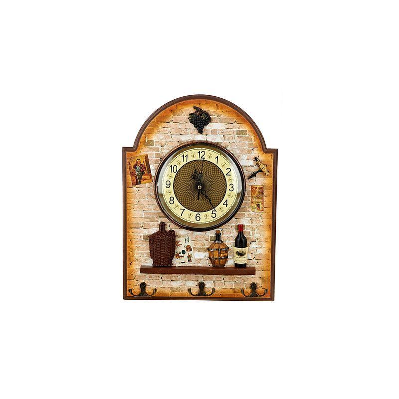 """Часы декоративные, настенные (вешалка: 3-и крючка на 6-ть полотенец) """"Старая таверна"""" 27*5*36,5см. (часы d16см. батарейка-1""""AA"""")"""