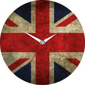Часы Английский флаг d  28 см стеклянные