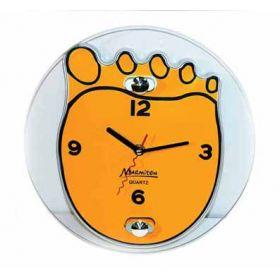 """Часы настенные, стеклянные, 25*20 см, """"Ступня"""" оранжевые MARMITON"""