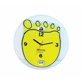 """Часы настенные, стеклянные, 25*20 см, """"Ступня"""" жёлтые MARMITON"""