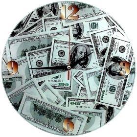 Часы Доллары d28 см стеклянные