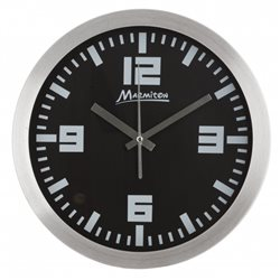 Часы настенные алюминиевые 30см черные