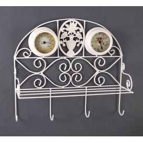 Часы настенные с термометром полкой и крючками 43*47,5 см.диаметр циферблата10 cm.