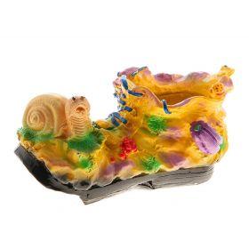 Кашпо Ботинок с улиткой гипс