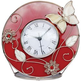 "Часы  Jardin D'Ete  ""Красный глянец"", сталь, стекло, перламутр, пластик 16,5 х 4 х 16,5 см"