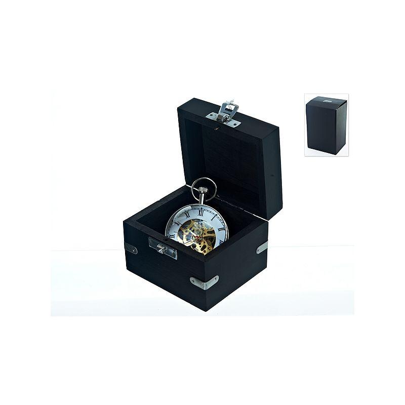 Часы декоративные, механические в подарочной шкатулке (розовое дерево) (часы-d5,5см.) 9*8*7,5см. (металл-никель, стекло) (подаро