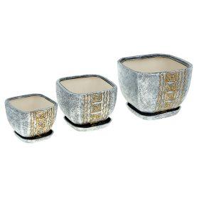 Кашпо Русь серебро керамика