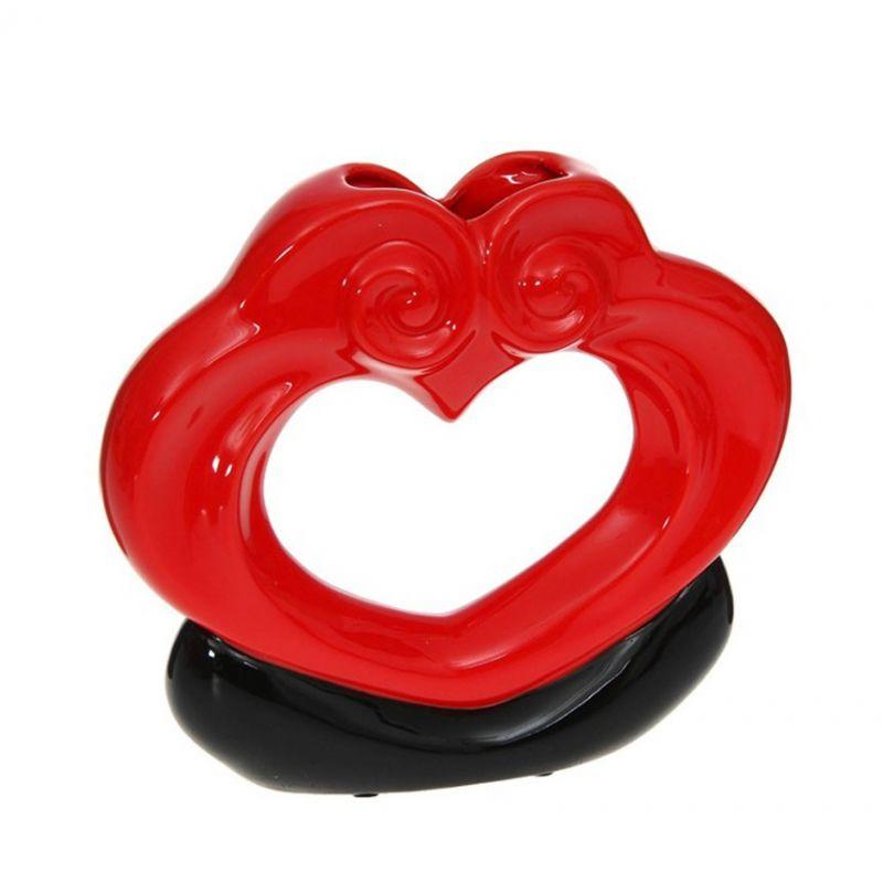 Ваза керамика абстракция красн/черн сердце