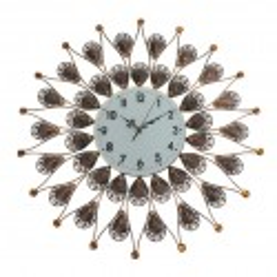 Часы настенные круглые рамка с ажурными перьями бронза