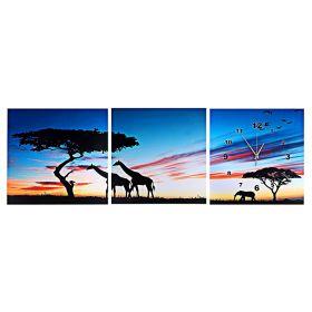 """Часы настенные картина 3в1 """"Ночная Африка"""""""