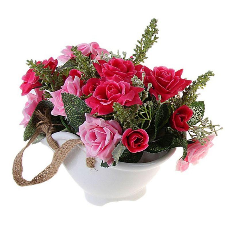 "Мини-композиция в вазе-веере ""Розы"" (микс)"