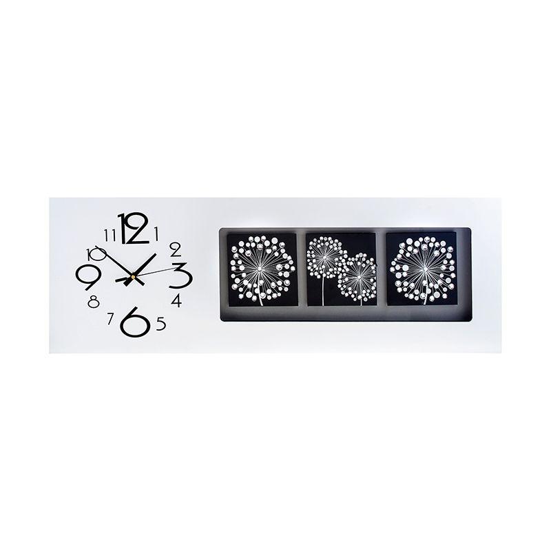 Часы настенные серия Катрин, горизонтальные белые с 3 вставкими - Одуванчики