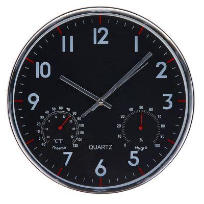"""Часы настенные круглые с термометром и гидрометром рама хром """"Стайл"""""""
