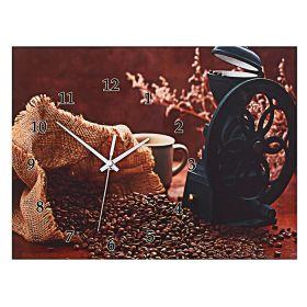 """Часы настенные-картина """"Кофемолка с ароматным кофе"""""""