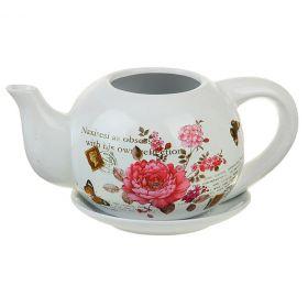 """Горшок """"Пионы"""" чайник 23х12 см"""