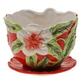 """Горшок для цветов с поддоном 15,5х21 см """"Цветочный бутон"""""""