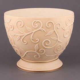 """Чаша декоративная """"арт деко"""" персик с золотой каймой диаметр28 см."""