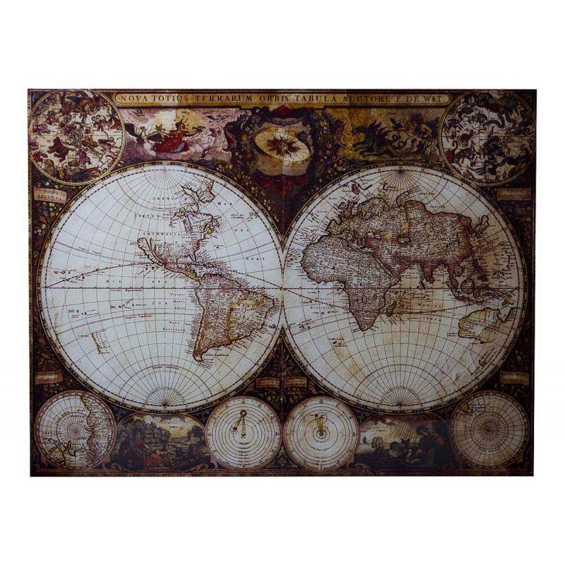 """Панно стеклянное """"Карта мира"""""""