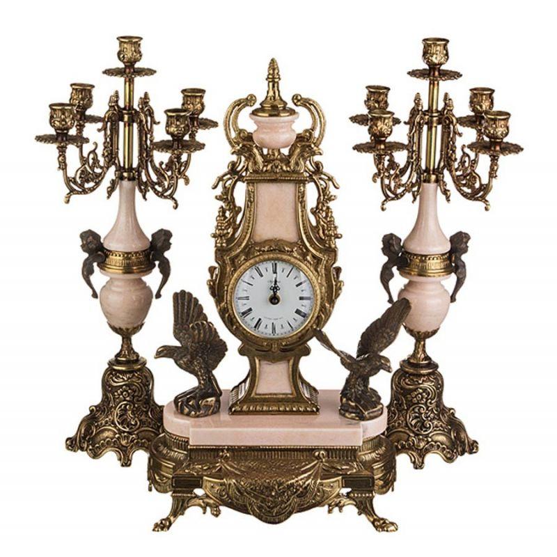 Часы кварцевые + 2 подсвечника(набор), высота-52 см