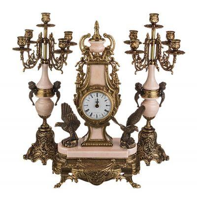 Часы каминные и 2 подсвечника