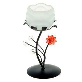 Подсвечник металл 1 свеча Цветочная композиция h-13 см белый