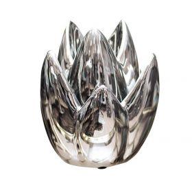 Подсвечник керамический серебристый